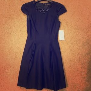 Zara Navy Blue dress with beaded detail